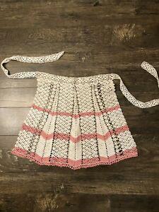 #6 Vintage Crochet Apron Blue 17\u00d718