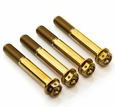 4x Gold Titanium Front Caliper Bolts 75mm Race Spec Drilled, Suzuki, Yamaha