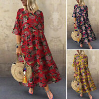 Womens Floral Print Cotton Linen Casual Loose Kaftan Baggy Maxi Dress Plus Size