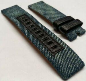 DIESEL Watch Strap 24mm OEM Diesel Owerflow DZ4373 DZ4374 Blue Denim + Leather