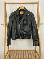 VTG Excelled Men's Leather Jacket Black Motorcycle Biker Size 42