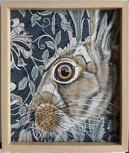 Original wildlife hare picture painting William Morris art Nouveau fabric