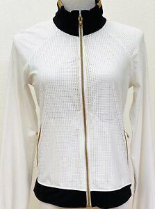 Lululemon Sweaty Or Not Zipper Jacket Mesh White w/ Black/Gold trim SZ 8 EUC