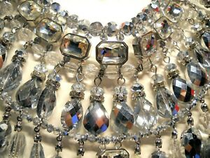 CHICO'S Dauphine Nosz Necklace 21 Jeweled Strings Hanging from the Jeweled Band