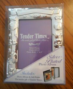 Tender times photo album silver plated engravable baby holds 4 x 6 photos NEW