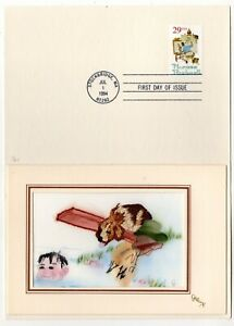 #2839 Norman Rockwell 1994 FDC Embroidered Kitty Gallup Card #1/20