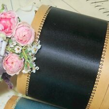 "1y Vtg 2.5"" Picot Feather Edge Rayon Ribbon Black Dbl Face Satin Hat Trim Antiqu"