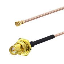 100pcs RP-SMA Female Sealed Bulkhead to IPX IPEX U.FL Mini PCI Cable 50cm