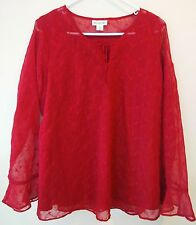 MOTHERHOOD Maternity Top Blouse BABYDOLL Size M Red Wine Burgundy Cotton Silk