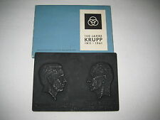 """Eisenkunstguss-Plakette """" 150 Jahre KRUPP 1811-1961 """"  Friedrich & Alfred Krupp"""