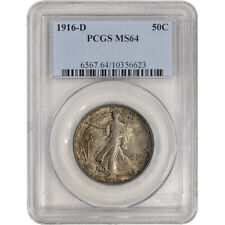 1916-D US Walking Liberty Silver Half Dollar 50C - PCGS MS64