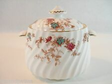 MINTON ANCESTRAL LIDDED SUGAR DISH HP CRANBERRY TURQUOISE FLOWERS WHITE CHINA