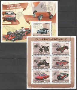 UC103 2008 COMOROS TRANSPORT CARS HISTORY EVOLUTION OF THE AUTOMOBILES BL+KB MNH