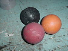 "VINTAGE CROQUET BALL 3"" LOT OF 3 SOLID COLORS BALLS TABLE ART PLASTIC COATED"