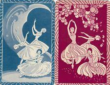 DANCERS -- 2  single vintage swap playing cards