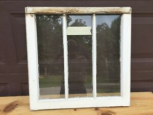 "Antique Vintage Wood Window Rustic Farmhouse Wedding Decor Art 3 Lite 24""x23"""
