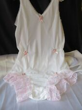 SISSY WHITE NYLON ALL IN 1 BODY BABY DOLL PANTY SLIP PINK LACE ROSE RIBBONS