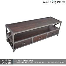 MADE TO ORDER Angle Industrial Entertainment unit plasma TV Iron Chocolate
