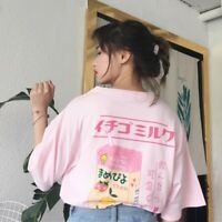 Women Summer Pink Harajuku Kawaii Loose T-shirt Short Sleeve Tops Blouse Tee