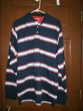 Mens Striped Polo Shirt Blue Orange Finish Line FINL 365 Long Sleeve L Large New