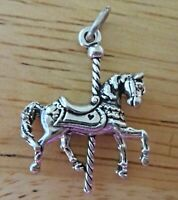 CAROUSEL HORSE ROUNDABOUT 3D CHARM 925 STERLING SILVER