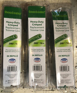 """72 Pack Weed Eater Heavy-Duty .80""""/ 16 inch Crimped Replacement Trimmer Line"""