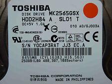 "250 gb toshiba mk2565gsx/hdd2h84 a sl01 T/g002641a 2,5"" Hard Disk Drive"