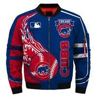 CHICAGO CUBS Men's Bomber Jacket Zip Up Jacket Baseball Team Fans NEW Design