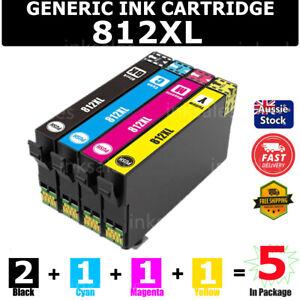 5x Generic 812XL 812 XL Ink Cartridge For EPSON WF7830 WF7840 7845 WF4830 WF4835
