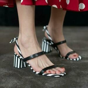 Womens New Fashion Leather Striped Slingback Bowtie Block Heel Sandals Shoes MON