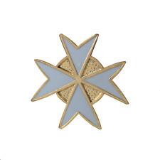 Order of Malta White Cut Out Cross Masonic Freemasonry Pin Badge