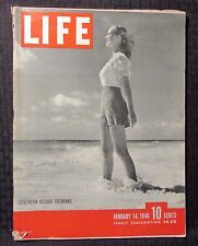 1946 January 14 LIFE Magazine VG- 3.5 Southern Fashions Cover Great Vintage Ads
