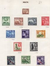 MALTA STAMPS KING GEORGE VI DEFINITIVES MOUNTED MINT AND USED