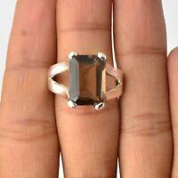Handmade 925 Solid Sterling Silver Jewelry Smoky Quartz Gemstone Ring Size 9
