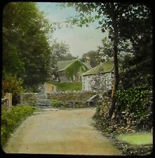 Glass Magic Lantern Slide COUNTRYSIDE PATH LEADING TO A CHURCH C1910 PHOTO