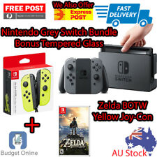 Grey Nintendo Switch Console + Tempered Glass + Zelda BOTW + 2 x Joy-Con Control