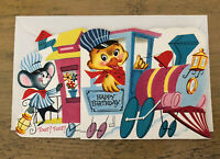 Vintage Anthropomorphic Animal Train Birthday Card Unsigned With Envelope