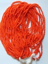 "Orange Seed Beads Vintage Glossy Opaque Glass Long Full 20"" Hank 10/0 (55528725)"