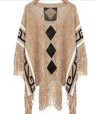 Boho Tribal Inca Aztec Tassel Poncho Top Cape Jumper Pullover Coat Ethnic Knit