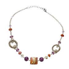 340755e7b6a ANTICA Murrina Bolero 24ct Gold Leaf Coral & Purple Glass Beaded Ladies  Necklace