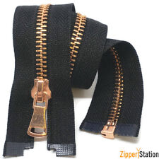 Rose Gold #5 Metal Zips - Open end Zipper - Black and White (RG5OE)
