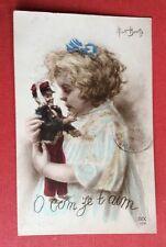 CPA. Illustrateur Albert BEERTS. Petite Fille. O Com Ze t aim.Poupée.Soldat.1915