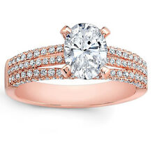 Moissanite Engagement Ring Size 7 6.5 5 14k Rose Gold Wedding Rings 2.54 Ct Real