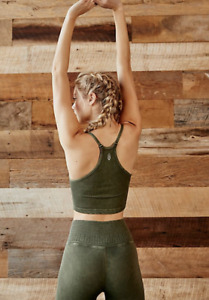 NEW Free People Movement Happiness Runs Tank Crop Top in Green  XS/S-M/L $26