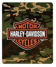 Harley Davidson Motorcycle Camo Camouflage fleece blanket throw NEW
