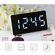 Digital LED Mirror Clock Electronic Alarm Snooze Clock Calendar/Time/Temperature