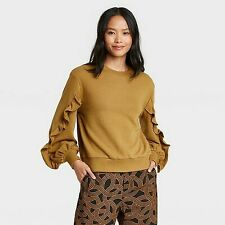 Women's Ruffle Sleeve Scoop Neck Pullover Sweater - Who What Wear Bro