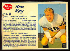 1962 POST CFL FOTBALL #58 Ron Ray EX-NM Hamilton Tiger Cats Howard Pynee College
