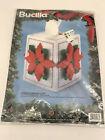 Bucilla VTG Poinsettia Christmas tissue box cover craft kit yarn plastic Canvas
