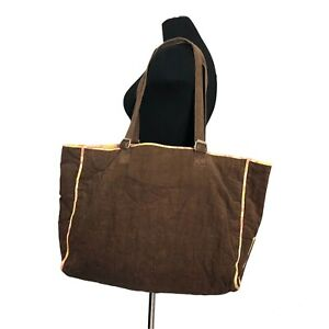Authentic Marc Jacobs Brown Corduroy & Print Reversible Large Tote Purse Bag